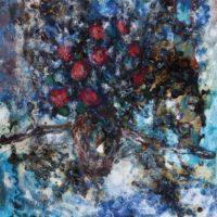 Kwiaty, lata 70., olej, płótno, 81×65 cm