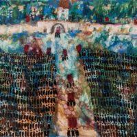 Pejzaż wiejski – pogrzeb, 1970, olej, płótno, 81×116 cm