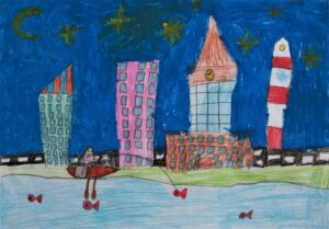 Hanna Hendel, 8 lat, Szkoła Podstawowa nr 300, Przejdźmy się na spacer na starówkę i nad Wisłę - powiedział tata