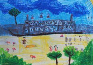 Julia Midura, 7 lat, Szkoła Podstawowa nr 300, Odpoczynek na plaży nad Wisłą, płynie statek