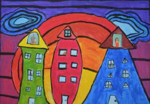 Zofia Szilágyi, 10 lat, Dom Kultury Stokłosy, Kolorowe miasto, kolorowa muzyka-inspiracja twórczością Hundertwassera.jpg