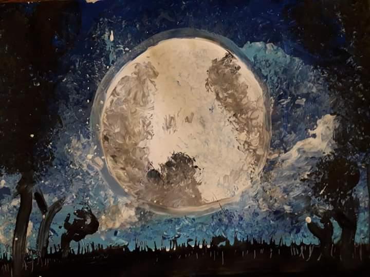 Basia Wójcik, 9 lat, Księżyc nocą, Szkoła Podstawowa nr 187